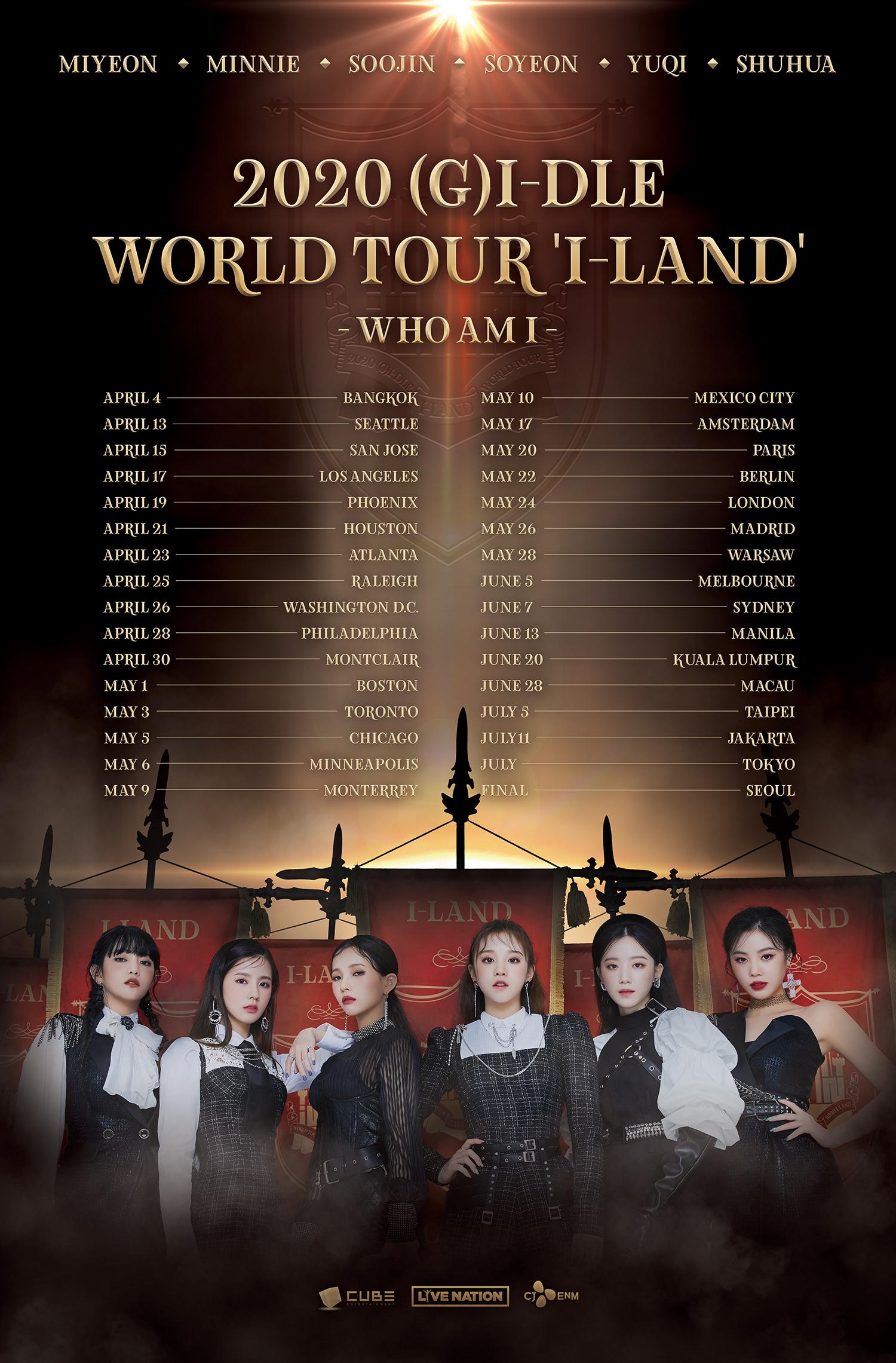 (여자)아이들, 첫 월드투어 ′I-LAND _ WHO AM I′ 개최.. 전세계 32개...