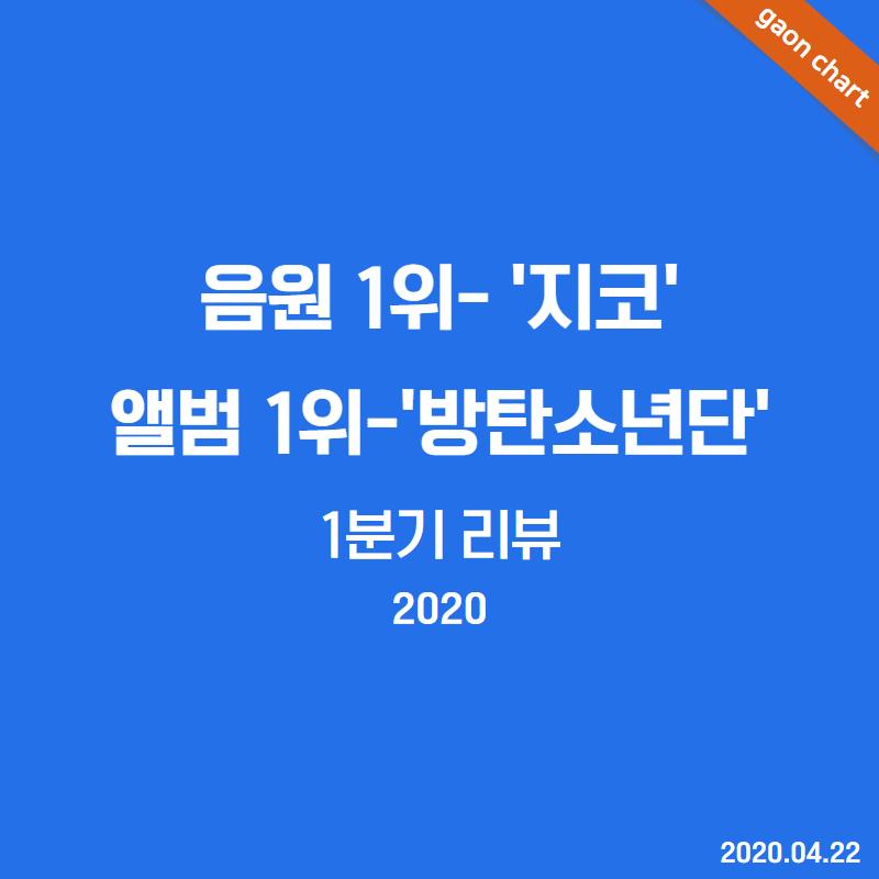 음원 1위- '지코' 앨범 1위-'방탄소년단' 1분기 리뷰(2020)