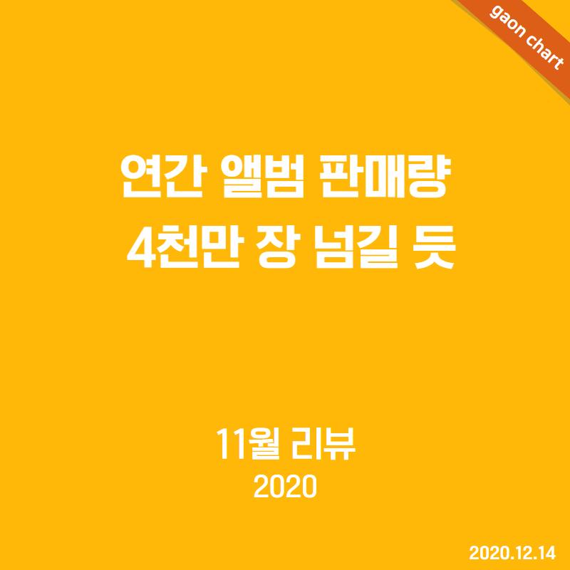 연간 앨범 판매량 4천만 장 넘길 듯 - 11월 리뷰(2020)